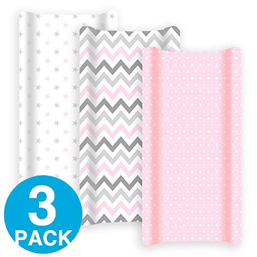 Premium Changing Pad Cover Girl 3 Pack | 100% Cotton, Jersey Soft | Changing Table Pad Cover | Pink & Grey Diaper Changing Pad Covers | Baby Shower Registry Gift