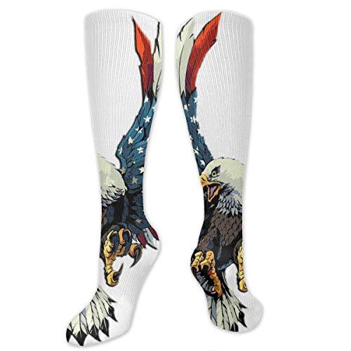 MSONNET Athletic Socks USA Eagle American Flag 3D Compression Socks Long Crew Socks for Men Women Boys Girls Kids - Best Medical Nursing Travel Flight Socks