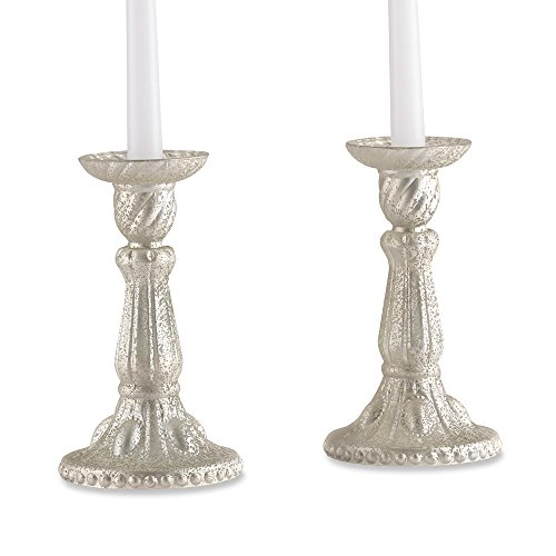 Kate Aspen 27117NA Champagne Frosted Mercury Candlesticks (Set of 2)