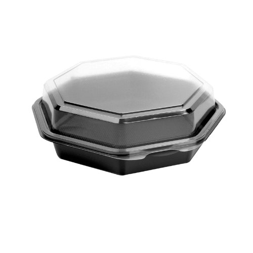 Solo 865045-AP94 7.5 in Black/Clear PET Plastic Hinged Container, 7.94x7.47 in (Case of - Hinged Plastic Black Base