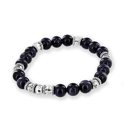 Believe London Blue Goldstone Gemstone Bracelet Healing Bracelet Chakra Bracelet Anxiety Crystal Natural Stone Men Women Stress Relief Reiki Yoga Diffuser Semi ()