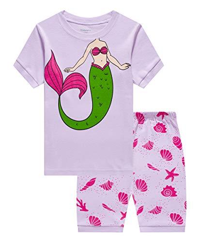 (Little Girls Pajamas Sets Girls Mermaid Sleepwear Summer Short Sets Cotton Toddler Pjs Clothes(Mermaid)