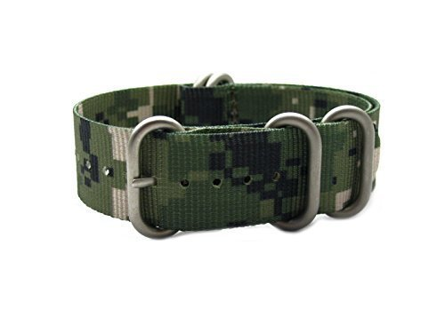 280 Matt (HNS ZULUPATH 22mm Camouflage Desert Heavy Duty Ballistic Nylon Watch Strap 5 Matt Ring ZU043)
