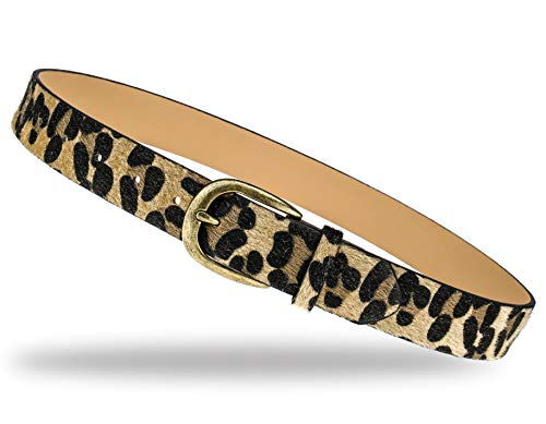 (QISHI YUHUA Womens Leopard Print Belts Cheetah Animal Print Belt for)