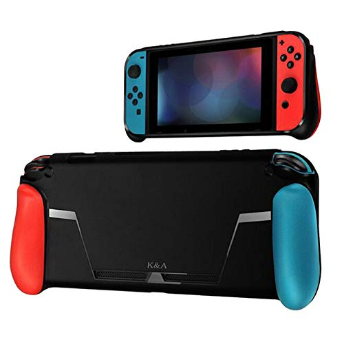 Leoie for Nintend Switch Console TPU Shock-Absorption Protective Grips Cover Case Red Blue