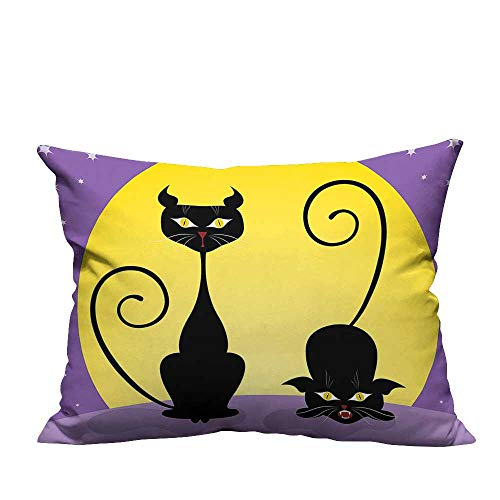 YouXianHome Household Pillowcase Black Kitti fr Full Starry Night Halloween Image Violet Yellow Bla Perfect for Travel(Double-Sided Printing) 21.5x21.5 inch ()