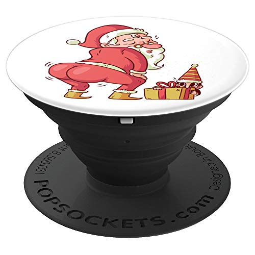 Santa Claus Dancing With Elf Hiding Behind Gift - PopSockets Grip and Stand for Phones and Tablets