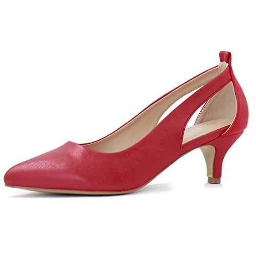 Allegra K Women's Pointed Toe Cutout Sides Kitten Heel Red Pumps - 5.5 M US ()