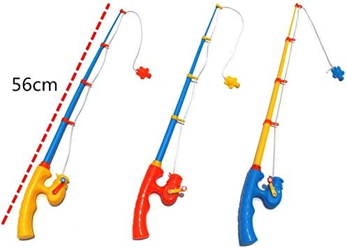 2 Pieces Durable Plastic Telescopic Fishing Rods Sturdy Portable Magnetic Fishing Poles for Toddlers Kids Fish Toys Accessories(56cm)