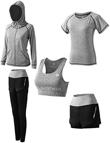レディースジャージ上下セット 女性のフィットネスヨガスポーツジャケット長袖ランニングシャツセット (Color : Gray, Size : XXXL)