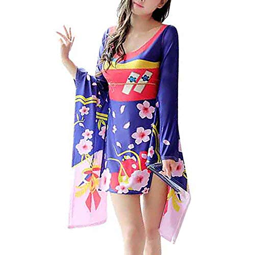 HongH Women's Sexy High Slit Kimono Style Mini Dress Gorgeous Japanese Floral Printed Flowing Sleeve Bodycon Dress Lingerie Robe Blue Sakura
