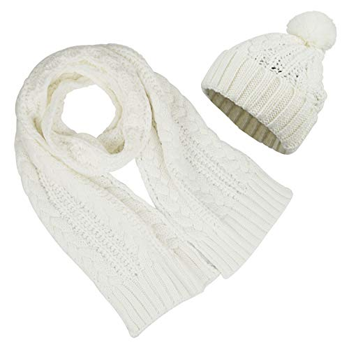 - Womens Knitted Pom Pom Beanie Cap with Knitted Scarf Set Two Piece, White