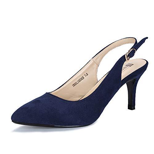 (IDIFU Women's IN3 Slingback Pointed Toe Mid Heel Dress Pump (Blue Suede, 9 B(M) US))