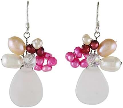 NOVICA Rose Quartz Dyed Cultured Freshwater Pearls Stainless Steel Beaded Earrings 'Gardenia Garland