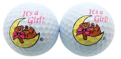 Its a Girl Novelty Golf Ball SET of 2 Golfing Gift for Golfer New Baby Girls Daddy