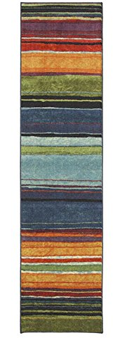 2x8 New Wave Rainbow Multi Machine-Made Nylon Latex Backing Striped Print Contemporary Style Runner Area Rug
