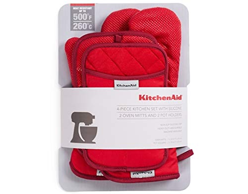 Buy essential home 2 piece oven and pot mitt set red