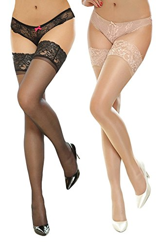 Zando Womens Lady Sexy Hot Ultrathin Transparent Lace Silicon Silk Stockings Tights C 2 Pairs (Cheap Sexy School Girl Outfits)