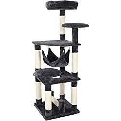 "Ollieroo [Upgrade] 54"" H Cat Tree Tower Condo Furniture Scratching Post House Three Layers Kitten Condo Pet House (Dark Grey)"