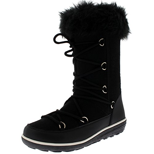 Polar Products Womens Rain Thermal Warm Snow Winter Knee High Waterproof Boots Black Textile 73lSnHbWo