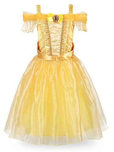 JerrisApparel Little Girl Belle Princess Party Costume Fancy Dress up (6-7, Knee Length: Yellow) -