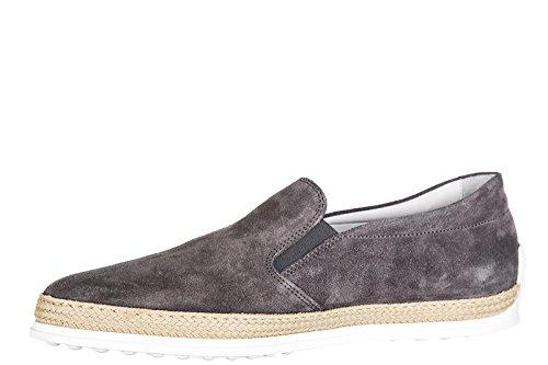 Tod's slip on en ante hombre nuevo pantofola caucho Rafia gris
