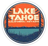 Lake Tahoe California Nevada Vintage State Travel Decal - Sticker Graphic 5'' Wide Fishing Bass American Travel Sticker Bumper Wall Luggage Decal Sticker
