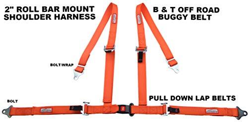 (RACERDIRECT Orange 4 Point SEAT Belt Harness Pull Down Lap Belts ROLL BAR)