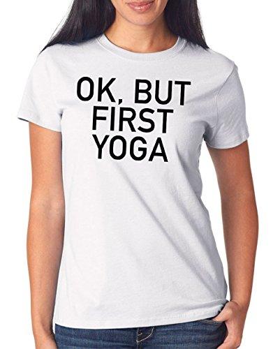 Ok But First Yoga T-Shirt Girls White Certified Freak