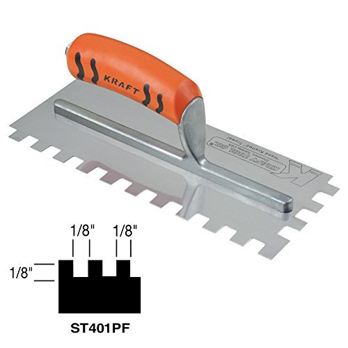 Kraft Tool ST401PF Square-Notch Trowel with ProForm Handle (Cove Trowel)