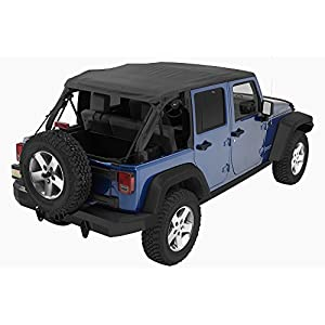 Bestop 56823-35 Black Diamond Trektop NX Complete Frameless Replacement Soft Top with with Sunrider Sunroof Feature for 2007-2017 Wrangler Unlimited
