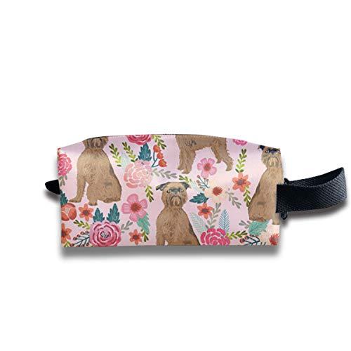 Women Girl Makeup Case Clutch Bag Daily Use Cash, Multifunction Travel Makeup Train Case Holder Storage Pouch Large Capacity Zipper Pen Organizer - Brussels Griffon Dog Floral