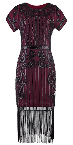ZX Women's 1920s Gatsby Beaded Sequin Embellished Fringed