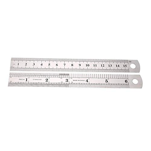 EORTA 10 Pieces 15 cm/6 Inch Stainless Steel Rules Spring Tempered Steel Rule Double Side Scale Rule Measuring Tools for Students, Carpenter, Sewer, Silver