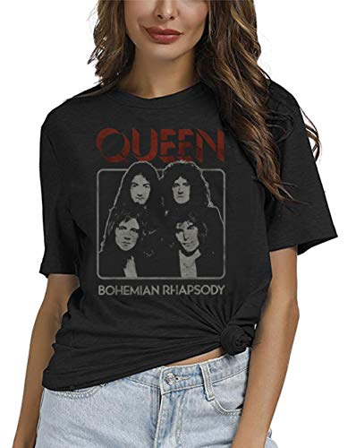 Large Black T-shirt Band - Queen Band Shirt Freddie Mercury Funny Graphic Women Vintage Music Bohemian Rhapsody Top Tees (S, Black)