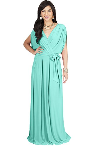 KOH KOH Petite Womens Long Formal Short Sleeve Cocktail Flowy V-Neck Casual Bridesmaid Wedding Party Guest Evening Cute Maternity Work Gown Gowns Maxi Dress Dresses, Light Mint Green S 4-6