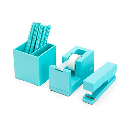 Desktop-Starter-Set-Aqua-Stapler-Tape-Dispenser-Pens-Pen-Cup