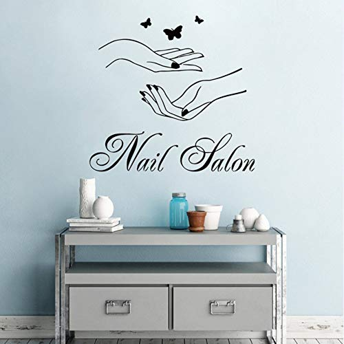 ponana Nail Salon Wall Window Wall Sticker Woman Hands with Butterfly Wall Decal Nail Shop Wall Decor Manicure Logo Design Mural 61X57Cm for $<!--$24.64-->