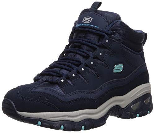 Skechers Women's Energy-Cool Rider-Suede Overlay Wavy Lace-Up Boot Chukka, Navy, 9 M US