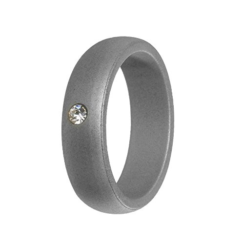Simpleonly Women Silicone Wedding Band with Rhinestone Diamond, Silver Rubber Bands Elastic Non Metal for Mechanic Workout, Athlete Exercise, Sport ()