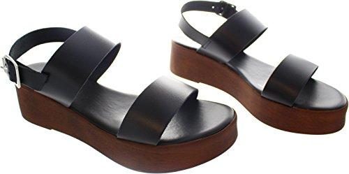 Pieces  Leila, Damen Sandalen schwarz schwarz