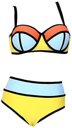 Women's Plus Colorful High Waisted Diving Suit Neoprene Push up Bikini Swimsuit Yellow US M