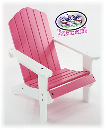 Toys Doll Furniture - Matty's Toy Stop Pink/White Wooden Doll Furniture Adirondack Deck Chair for 18 inch Dolls (Fits American Girl Dolls)