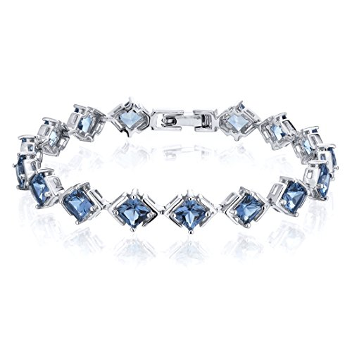 12.00 ctw weight Princess Cut London Blue Topaz Gemstone Bracelet in Sterling Silver Rhodium Nickel Finish