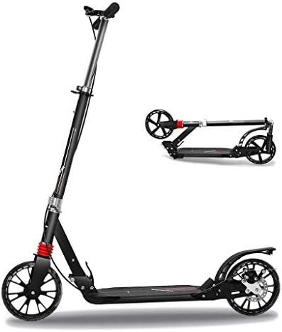 デラックス キックスクーター折り畳み式 4段階調節可能 ハンドブレーキ&フットブレーキ搭載 20cmビックホイール 機能充実 二輪車 キックボード 大人も子供も乗れる