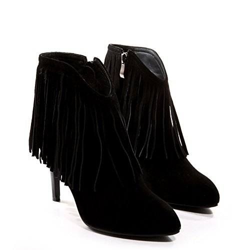 AmoonyFashion Womens Pointed-Toe Closed-Toe High-Heels Boots With Stiletto Shoes and Zippers Black 9e6U1sZ2