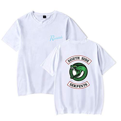 Impreso redondo corta de Verano Riverdale Blusas manga Cuello de cl Camiseta Top qgUfxt
