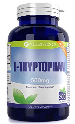 - L-Tryptophan 500mg 200 Capsules 200 servings - or 100 servings of 1000mg - Nutrissence