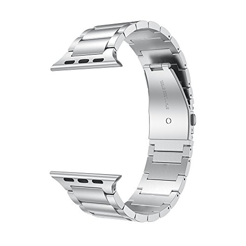 LDFAS Compatible for Apple Watch Band 44mm/42mm, Solid Stainless Steel Metal Link Bracelet Bands Compatible for Apple Watch Series 4/3/2/1, Silver