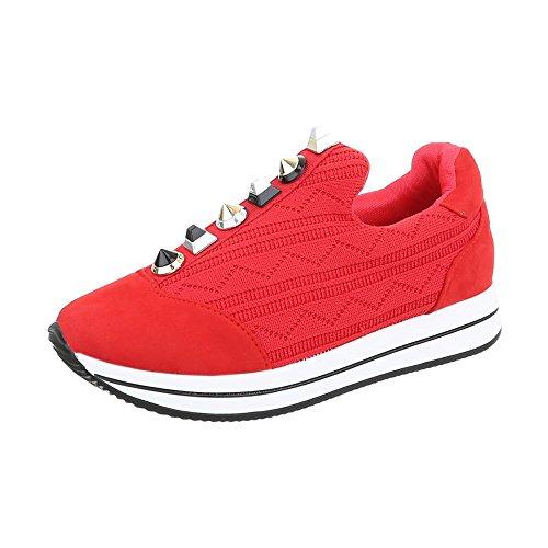 Ital-Design Sneakers Low Damenschuhe Sneakers Low Sneakers Freizeitschuhe Rot D-20